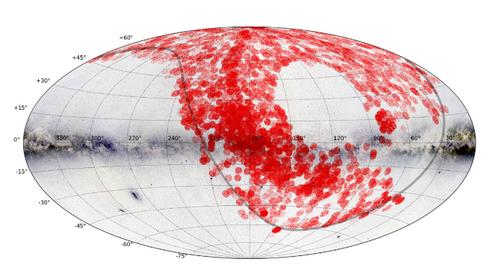 郭守敬望遠鏡正式巡天的天區覆蓋圖