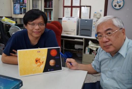 姜博識(左)及陳文屏(右)顯示發現的棕矮星大小尺寸