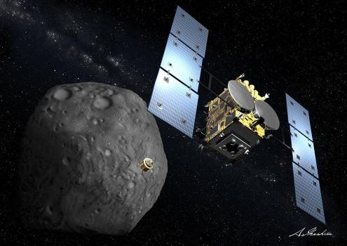 畫家筆下的隼鳥2號從小行星採集岩石樣本