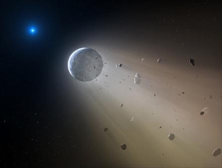 畫家筆下行星環繞白矮星運行過程中逐漸解體