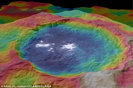 穀神星亮點所在隕石坑的凸顯地形彩色圖