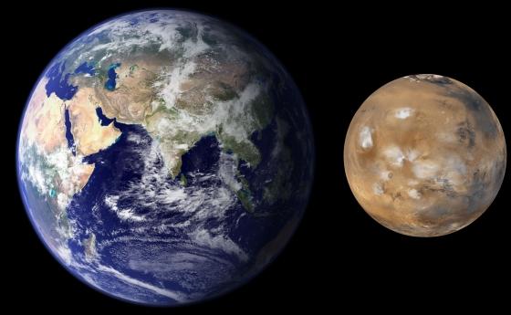 地球和火星大小的比較