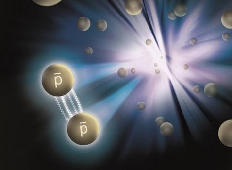 反質子間相互作用的卡通示意圖