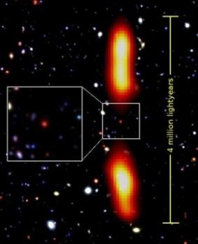 超大質量黑洞在星系的紅色中心
