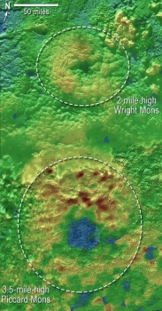 兩個冰火山的立體地形圖