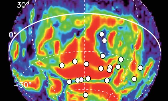 火星快車十年內偵測到火星極光的位置
