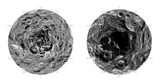 穀神星北極(左)和南極(右)的照片