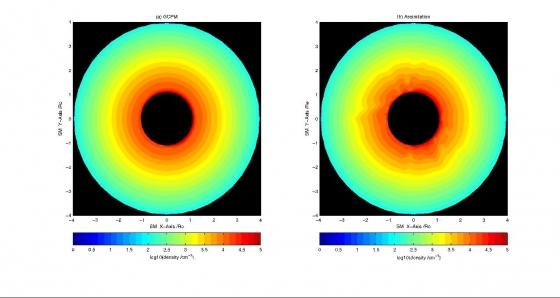 同化前後的等離子層電子密度分佈示意圖