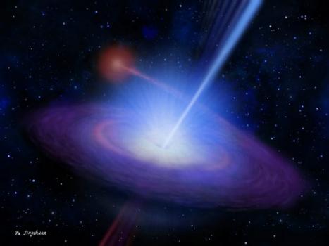 黑洞吸積物質並產生高速物質噴流和吸積盤風的想像圖