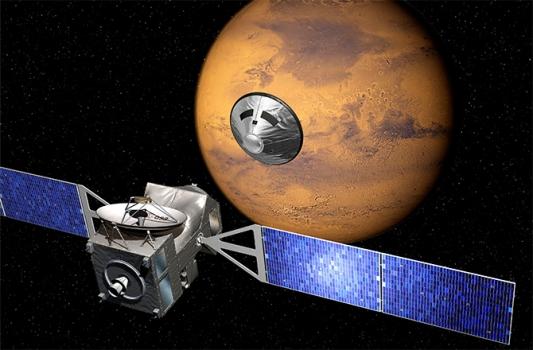 畫家筆下的火星外太空生物探測衛星