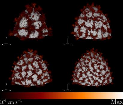 羽狀熱氣體從恆星內核流出到表面燃燒