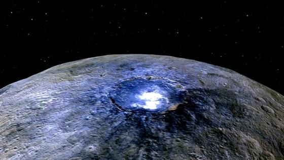 穀神星在隕石坑的亮點