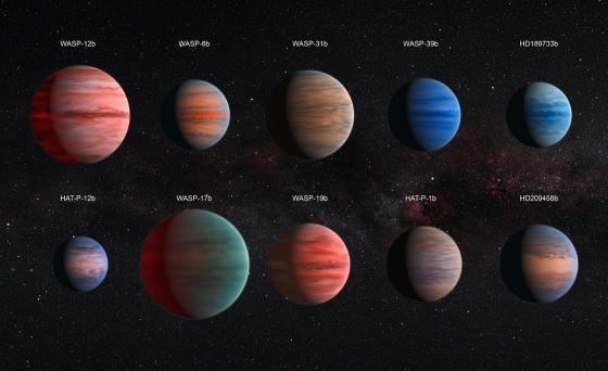 按照實際比例繪製探索的十顆熱木系外行星