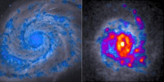 藍色區域具有最少而紅黃色區域最有多的恆星形成氣體