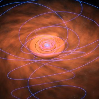 畫家構思的年輕恆星塵埃盤磁力線扭曲向內旋轉