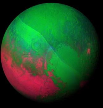 冥王星奇特表面特徵和動態變化的假色合成照片