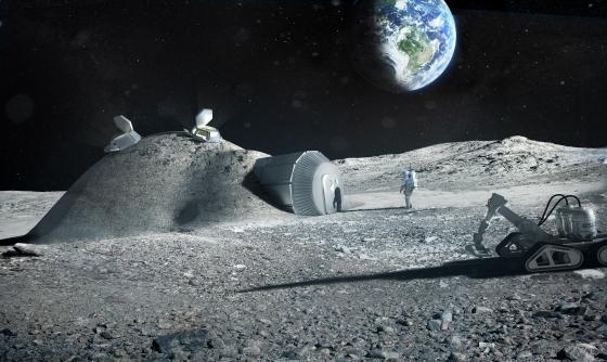 畫家構思立體打印建造的月球基地