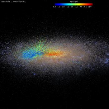 紅點顯示早期形成的恆星藍點近期形成的恆星