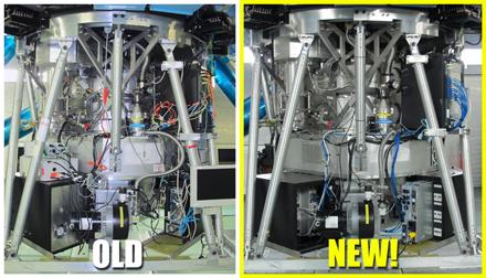 多目標紅外相機與光譜儀新(右)與舊(左)的比較本