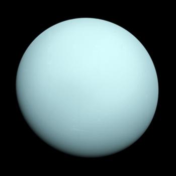 航行者二號在1986年1月拍攝的天王星照片