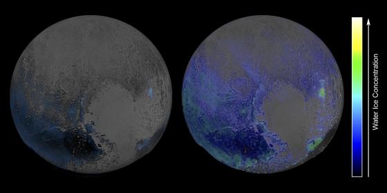 藍色顯示冥王星上水冰集中的區域