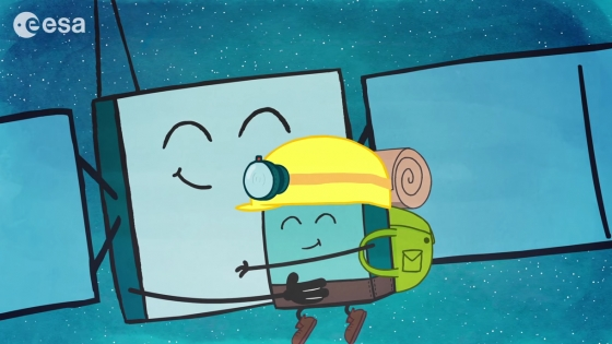 羅塞塔和菲萊彗星登陸器的可愛卡通造型