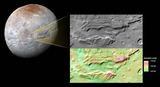 冥衛一表面龐大的峽谷地形和特寫照片