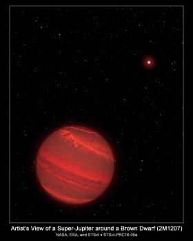 畫家筆下的 2M1207b 系外行星