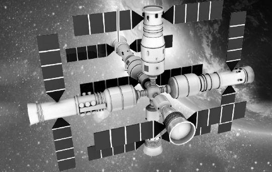 畫家筆下的中國多艙式在軌太空站