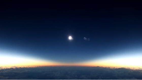 航機上拍攝的日全食