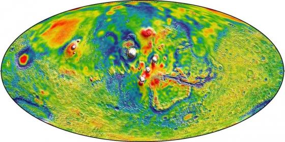 火星重力圖白色區域重力較大藍色地區重力較小