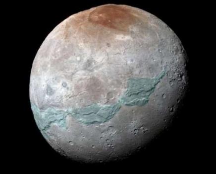 藍色顯示冥衛一表面的板塊地質結構
