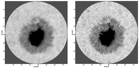 黑子圖像使用地表層自適應光學技術的分別