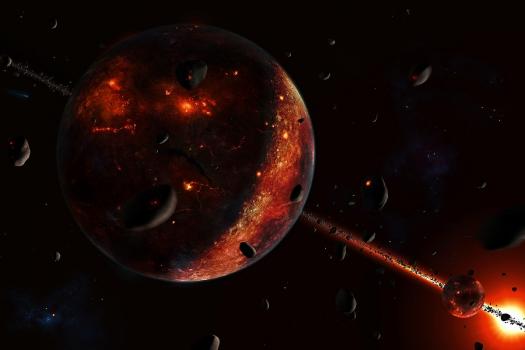 畫家筆下小行星連環撞擊火星