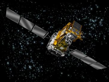 畫家筆下的國際伽瑪射線天體物理實驗室天文衛星
