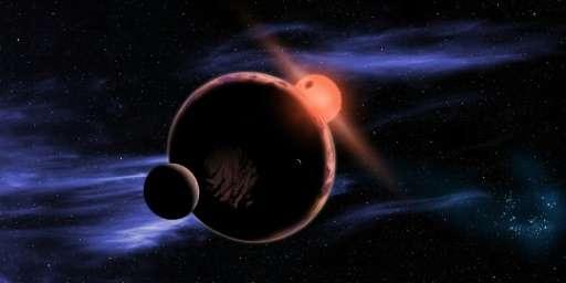 畫家筆下在紅矮星適居帶假想出現有兩顆衛星的系外行星