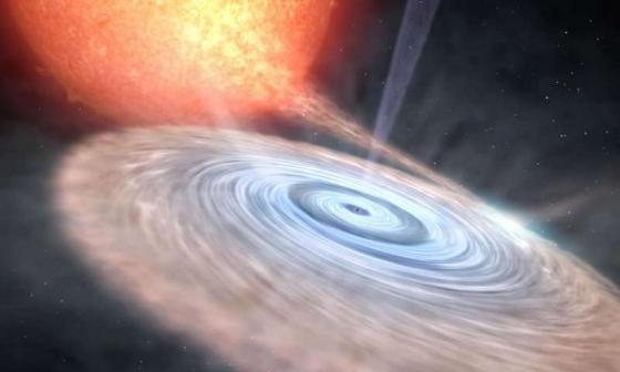天鵝座V404黑洞周圍的吸積盤
