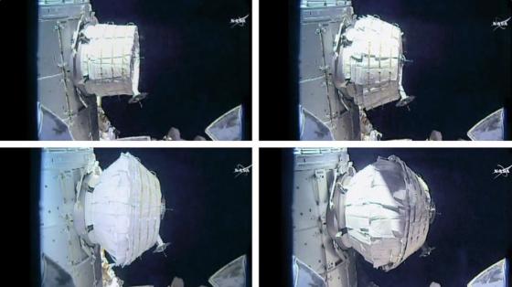 活動擴展太空艙充氣過程