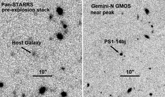 超新星爆發前(左)和高峰時(右)的對比照片