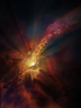 畫家筆下星系際氣體雲向超大質量黑洞落下