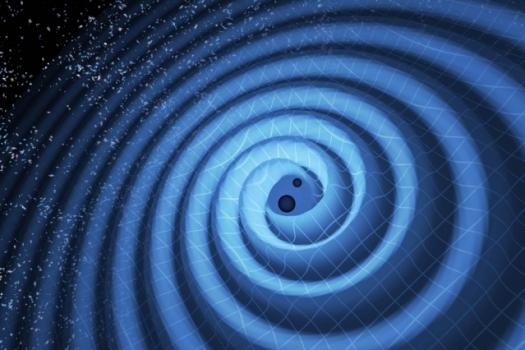 兩個黑洞合併產生的重力波向外紋波示意圖