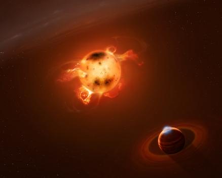 畫家筆下緊貼新生母恆星的新生巨行星