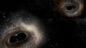 畫家筆下雙黑洞系統合併過程