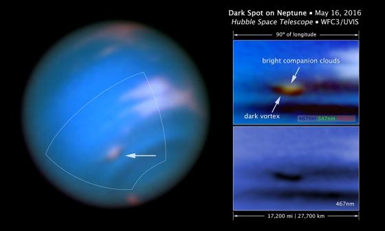5月16日海王星大氣層出現的黑暗漩渦