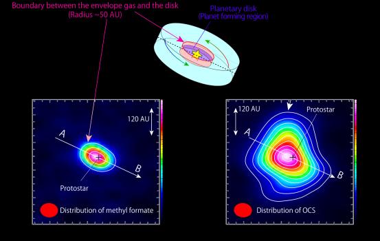 原恆星周圍的下陷氣體示意圖