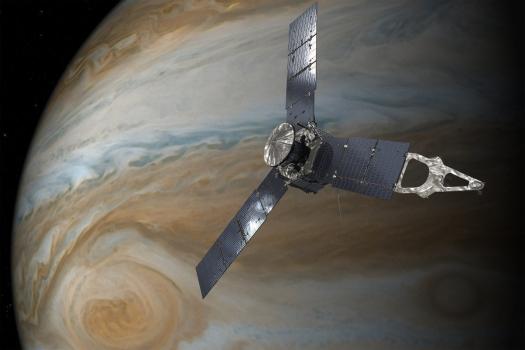 畫家筆下抵達木星的朱諾號太空船