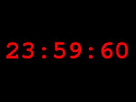 潤秒時時鐘顯示第六十秒