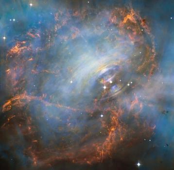 哈勃太空望遠鏡拍攝蟹狀星雲的移動核心
