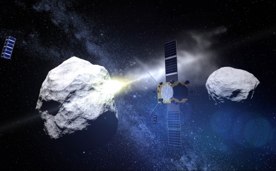 畫家筆下的小行星撞擊任務衛星觀察雙胞胎小行星撞擊情況