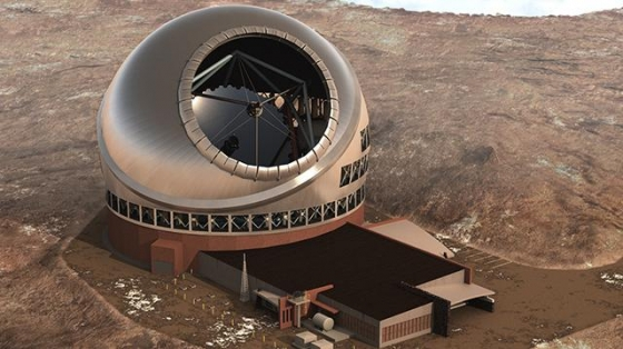 畫家筆下毛納基山頂的三十米口徑望遠鏡